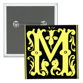 Old Calligraphy Letter M Square Button Pin