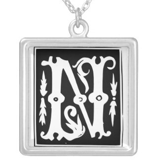Old Calligraphy Letter N Monogram Silver Necklace