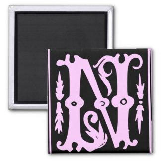 Old Calligraphy Letter N Square Fridge Magnet