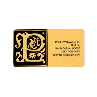 Old Calligraphy Letter P Address Label Landscape