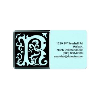 Old Calligraphy Letter R Address Label Landscape