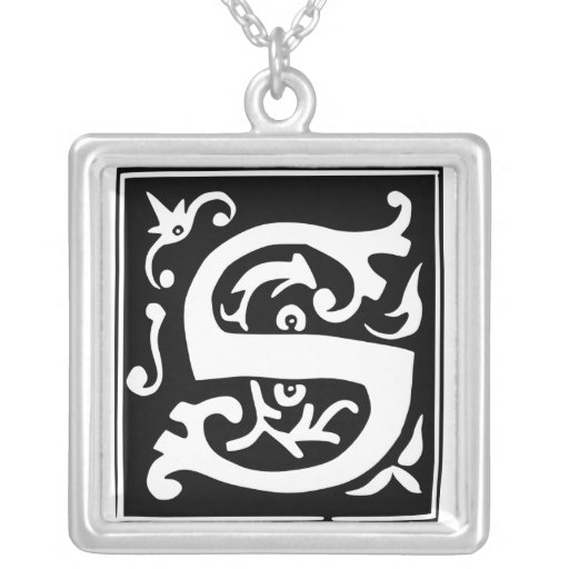 Old Calligraphy Letter S Monogram Silver Necklace