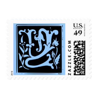 Old Calligraphy Letter Y Postage Stamp