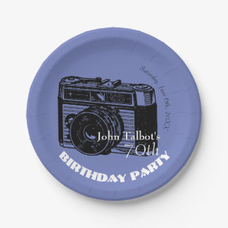 Old Camera 70th birthday Party Paper Plate