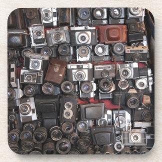 Old cameras beverage coaster