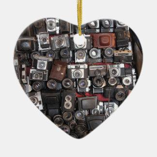 Old cameras ceramic ornament