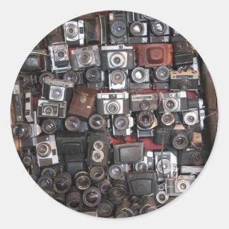 Old cameras classic round sticker