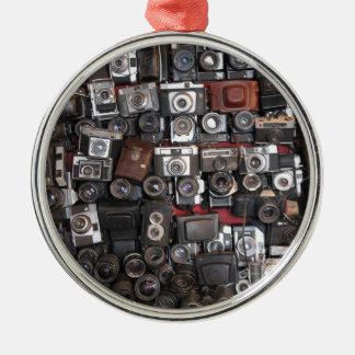 Old cameras metal ornament