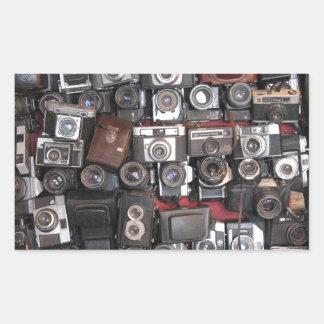 Old cameras rectangular sticker