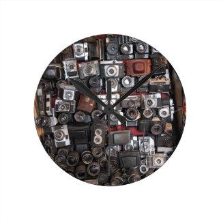 Old cameras round clock
