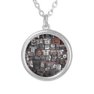 Old cameras silver plated necklace