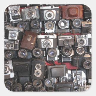 Old cameras square sticker