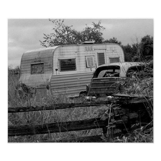 Old camper in black and white poster