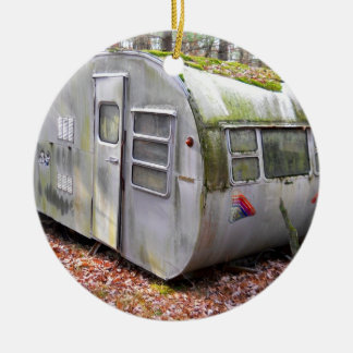 Old Camper in Woods Christmas Tree Ornament