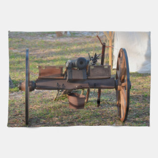 old canon front view on wheels hand towel