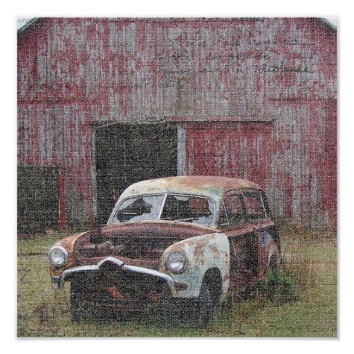 Old Car and Old Barn Poster