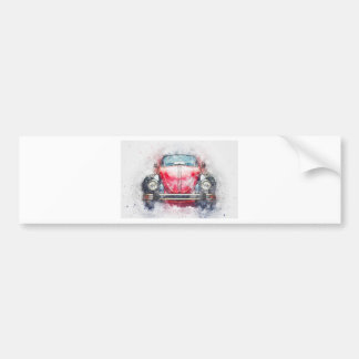 Old Car Art Abstract Watercolor Vintage Bumper Sticker