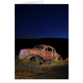 Old Car at Night, Bodie Ghost Town, Blank Inside Card