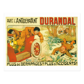 Old car automobile Durandal French advert Postcard