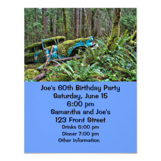 Old Car in the Forest 4.25x5.5 Paper Invitation Card