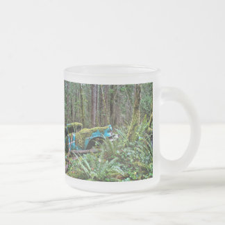 Old Car in the Forest 10 Oz Frosted Glass Coffee Mug