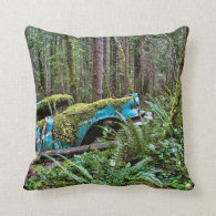 Old Car in the Forest Throw Pillows