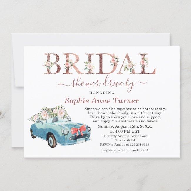 Old Car Pink Blush Floral Bridal Shower Drive By Invitation