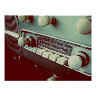 old car radio poster