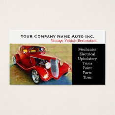 Old Car Repair Shop - Restorations Business Card at Zazzle