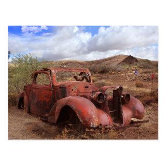 Old Car Rusting In Desert Landscape Postcard