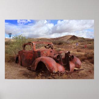 Old Car Rusting In Desert Landscape Poster