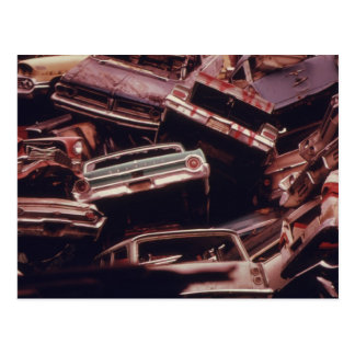 Old Car Scrap Heap - Vintage Postcard
