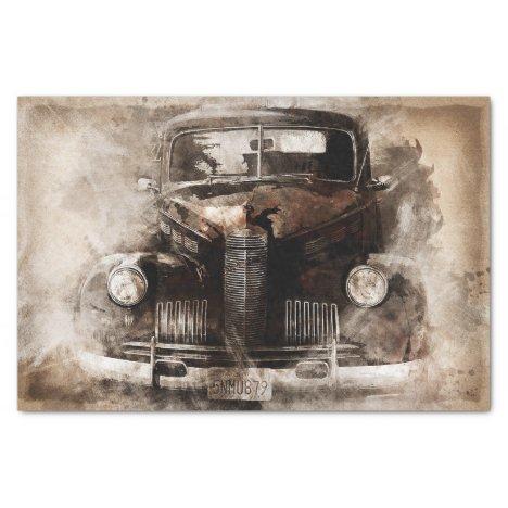 Old Car Vintage Decoupage Tissue Paper