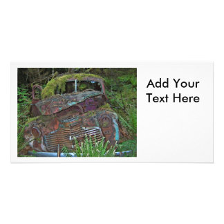 Old Car Wreck in the Forest Photo Card