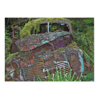 Old Car Wreck in the Forest Photo 5x7 Paper Invitation Card