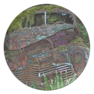 Old Car Wreck in the Forest Photo Party Plate
