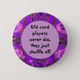 Old card players humor pinback button