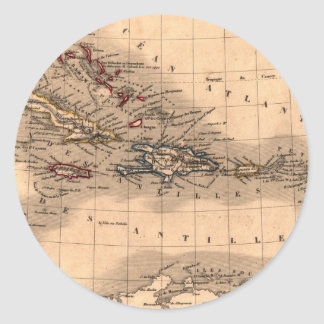 Old Caribbean Map Dive Shirt Classic Round Sticker