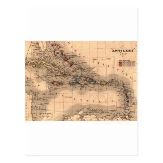 Old Caribbean Map Dive Shirt Postcard