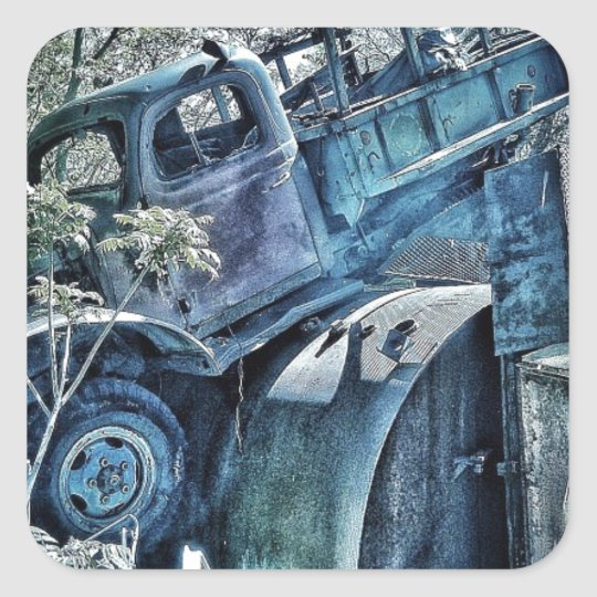 Old cars and junk yards, retro 01 square sticker