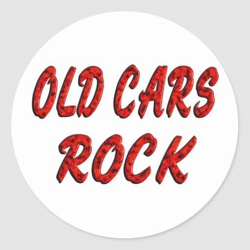OLD CARS ROCK CLASSIC ROUND STICKER