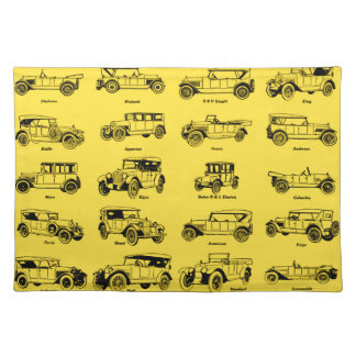 old cars yellow bottom retro red label placemat