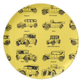old cars yellow bottom retro red label plate