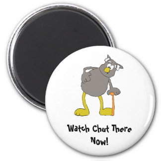 Old Cartoon Owl With Walking Stick 2 Inch Round Magnet
