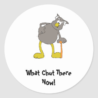 Old Cartoon Owl With Walking Stick Classic Round Sticker