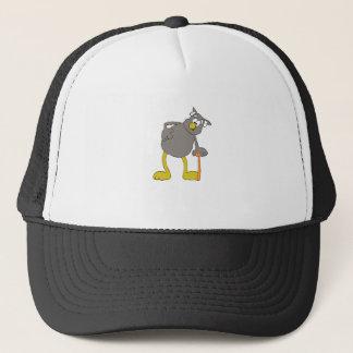 Old Cartoon Owl With Walking Stick Trucker Hat