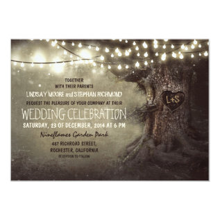 old carved tree twinkle lights rustic wedding card at Zazzle