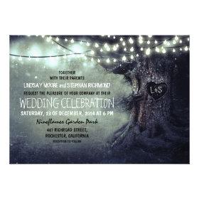 old carved tree twinkle lights rustic wedding custom invitations