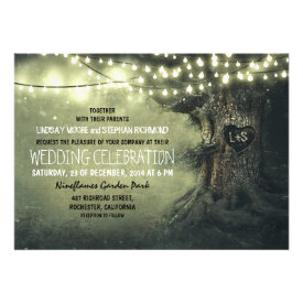 old carved tree twinkle lights rustic wedding cards