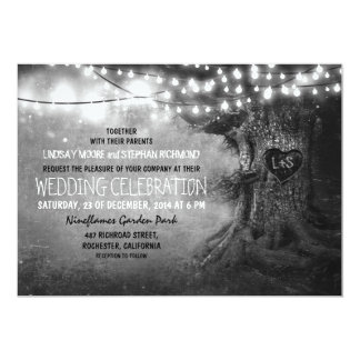 old carved tree twinkle lights rustic wedding personalized invitations